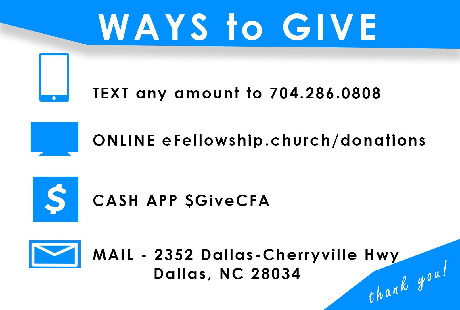 Give to Fellowship Church